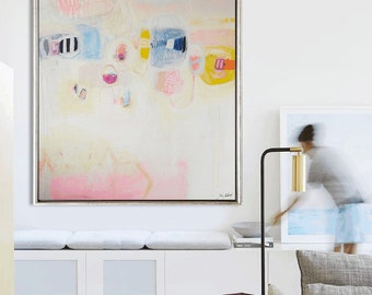 """Art Painting 60""""creme rosa  abstract  painting,  acrylic painting, oil painting ,Wall Decor, wall hanging, Jolina Anthony"""