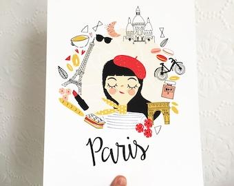 Paris City Print | Wall Art | Home Decor | French Chic | City Poster | Giclee | Croissant | Eiffel Tower | Love | City Break