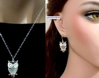 Owl Jewelry Set, Owl Earrings, Owl Necklace, Sterling Silver Bird Earrings, Bird Necklace, Woodland Animal Necklace, Minimalist Jewelry HOOT