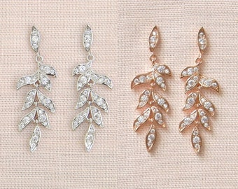 Leaf Bridal Earrings, Rose Gold Crystal Wedding Jewelry, Vintage style drop earrings, Falling Leaves Earrings