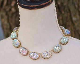 SALE WOW Vintage West German Crystal AB Textured Rhinestone Collet Necklace,Large Rhinestone Jewel Choker,Rare West German,Bumpy,Mountain To