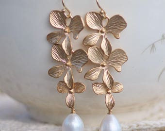 LOVELY Gold Orchid Long Drop Pearl Earring,Genuine Pearl Gold Bridal Earring,Gold Filled,White Freshwater Pearl,Weddings,Flower,Floral,Gift