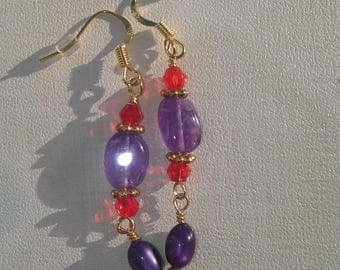 Ayla's Bead Creations Red Hat Society red crystal purple amethyst and purple moonglow gold earrings