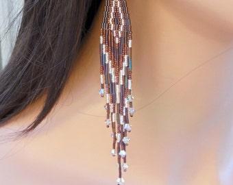 Extra Long Earrings - Matte Dark Copper & Beige - Extra Long Beaded Earrings - Seed Bead - Bugle Bead Earrings - Gypsy Boho Style - Fringe