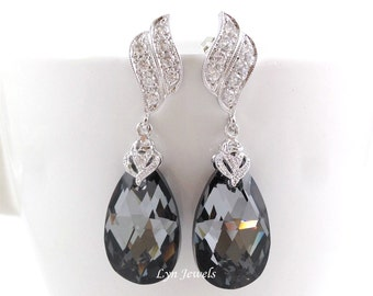 Black Crystal Earrings, Dark Grey Bridal Swarovski Crystal Silver Night Earrings, Dark Grey Wedding Earrings, Black Bridesmaids Earrings