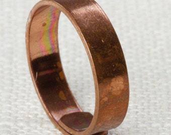 Simple Copper Ring Vintage Metal Ring | Copper Tone Metal Plain Cut Band Womens Adjustable Size 5mm Wide 16R