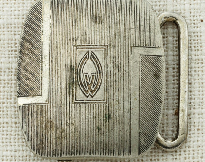 Silver Plate Etched Belt Buckle Small Pioneer Vintage Belt Buckle 16A