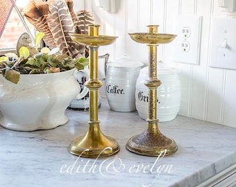 Vintage Pr Church Candlesticks, Brass, Very Timeworn