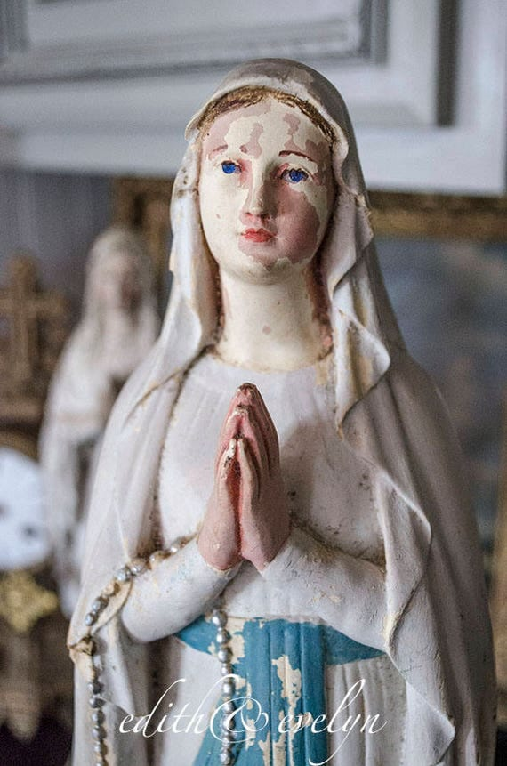 Lg Antique French Our Lady Of Lourdes Statue From France