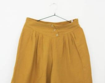 Vintage High Waist Mustard Shorts, Size Medium, Large, Mustard Yellow Shorts, Pleated Shorts