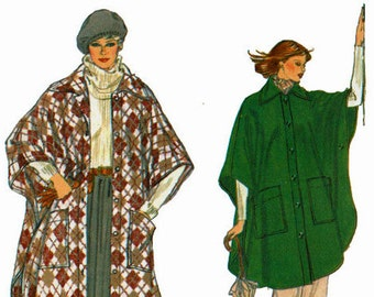 Poncho Sewing Pattern Size Large 16-18 Bust 38 40 Vogue 9890 Uncut Sewing Pattern