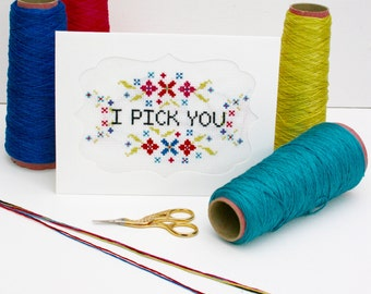Cross Stitch valentines Card kit, I pick you, DIY greetings card