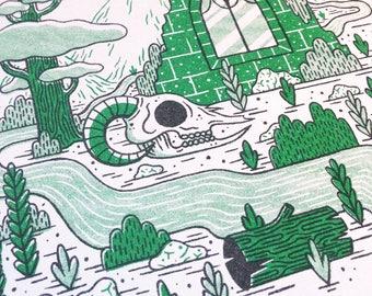 Yorkshire Ruins - Risograph Riso Small Print in Green