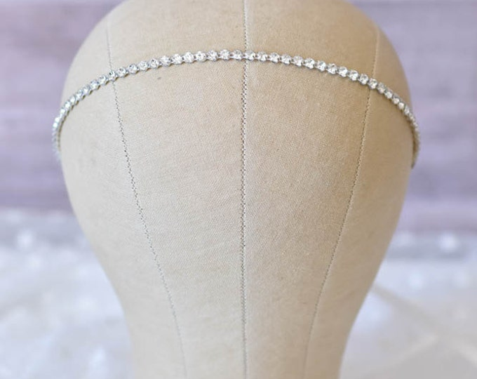 Rhinestone Wedding Headband – Thin Jeweled Headband with Satin Ribbon Tie