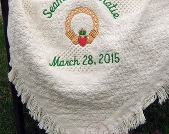 Irish Wedding Gift Personalized Claddagh (Claddaugh) Wedding Blanket for Irish Engagement Gift for Couple Gift by Li'l Inspirations