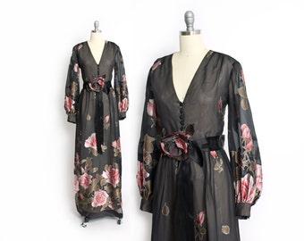 Vintage 70s Dress - Floral Chiffon Rose Print Illusion Maxi Gown 1970s
