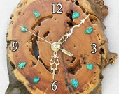 "Great Horned Owl with Moon and Turquoise Stones Log Cabin Style 10"" x 6"" x 1.75"" Rustic Wall Clock"