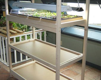 Grow light stand  for seed starting with 3 pullouts for 12 trays