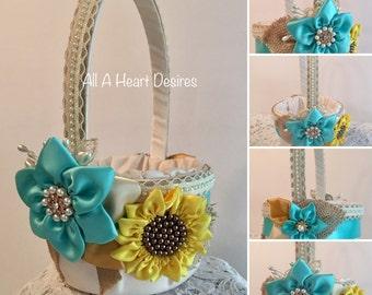 Sunflower Flower Girl Basket, Ivory and Aqua Flower Girl Basket, Country Chic Wedding, Sunflowers and Burlap, Rustic Wedding Flower Basket