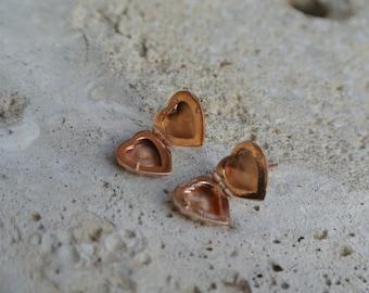 Sterling Silver 925 Rose Gold Vermeil HEART Locket Post Earrings _ Jewelry