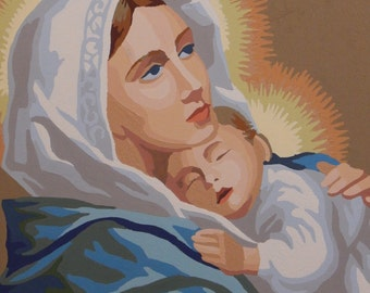 Paint by Number Mary with Baby Jesus, Religious picture, Mother Mary and Baby Jesus Paint by Number