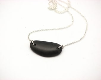 Beach Stone Necklace River Rock Jewelry Sterling Silver Black Pebble Necklace Lake Superior Stone Organic Earthy Jewelry