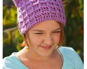 "Waffle Beanie with Cat Ears - Infant, Toddler, Child, and Adult Size ""Waffles the Kitten"""