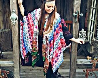 Festival gypsy kimono, bohemian kimono, boho kimono, gypsy boho kimono, festival kimono, hippie kimono, tie dye kimono, boho hippie kimono