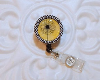 Retractable Badge Holder -  Badge Reel - Teacher Lanyard - Nurse Badge Holder - Dandelion On Yellow Background