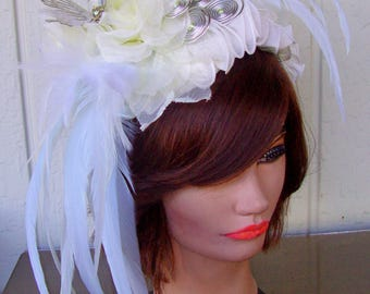 Fascinator (F714) White and CreamColors, Kentucky Derby, Races Mini Hat, Wedding, Diner en Blanc HatBlusher Netting, Butterfly
