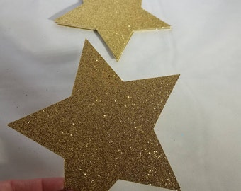 10 Large Glitter Star Die Cuts // Centerpieces // Twinkle Twinkle // Graduation // Baby Shower // Birthday Party // Die Cuts 5 inches