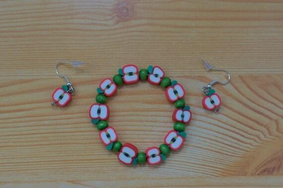 Girls set,girls bracelet,girls earrings,fruits bracelet,apple bangle,girls favour,girls jewelry set,girl bracelet,girl earrings,girl elastic
