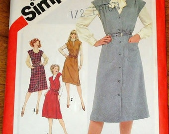 Vintage 1980s Sewing Pattern Simplicity 5196 Wrap Jumper, Button Down Dress, Womens Misses Size 16 18 20 Bust 38 40 42 Uncut Factory Folds