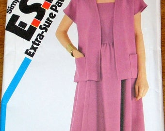 Vintage 1980s Sewing Pattern Simplicity 5694 Cross Back Sundress Dress, Jacket Womens Misses Size 10 12 14 Bust 32 34 36 Uncut Factory Folds