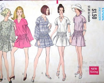 Vintage 1970s Sewing Pattern Vogue 7753 Mini Dress with Raglan Sleeves and Gathered Waist Womens Misses Size 12 Bust 34 Complete, Neatly Cut