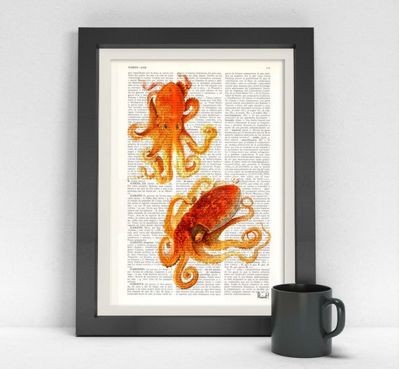 Spring Sale Art Print on Dictionary Two orange Octopus Beach house wall art octopus print Octopus wall art Wall decor sealife BPSL06
