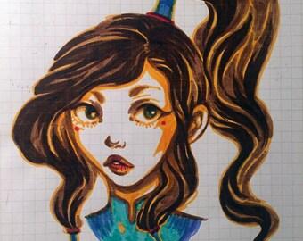 Korra - OOAK Illustration Sketchbook Page