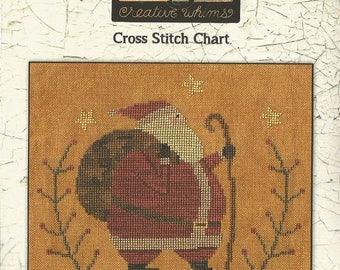 Santa's Hike cross stitch pattern by Teresa Kogut at thecottageneedle.com Christmas Winter Claus woodland holidays