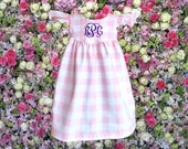 Pink Gingham Dress, Baby Girl Dress, Personalize It, Birthday Girl, Baptism Dress, Seersucker, Gingham Girl  | Free Shipping