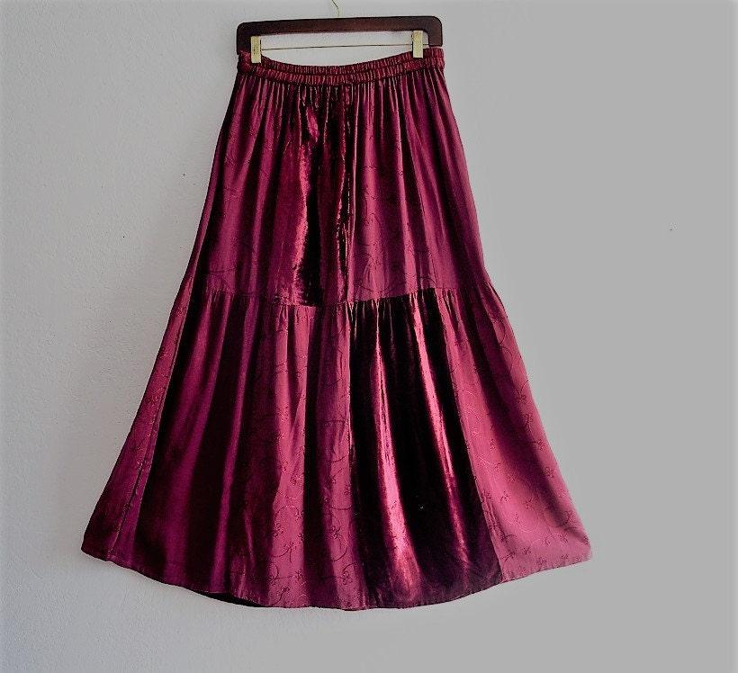 sale bohemian burgundy velvet maxi skirt