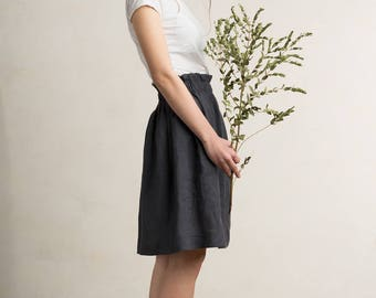 Linen skirt, Charcoal skirt, Dark grey linen skirt, Linen women's clothing by LHI