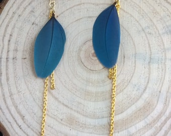 OOAK Feather Earrings - Blue Throated Macaw Parrot
