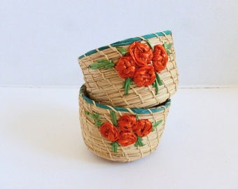 Small Woven Raffia Plant Baskets Natural with Orange and Green Flowers