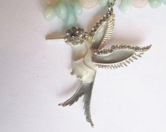 Hummingbird Necklace ./. Vintage Pendant ./. Mixed Stone Necklace ./. Pastel Stone Necklace ./. Amazonite ./. Rosequartz ./. Collier Pierres