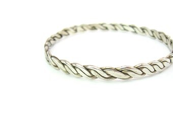 Silver Stacking Bangle. Braided Bracelet. Taxco Sterling 925. Flat Braid. Vintage Mexican Southwestern Jewelry
