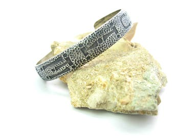 Pacific Northwest Native Cuff Bracelet. Hammered Sterling Silver Tsimshian Letters WOHELO Work Health Love Camp Fire Girls. Vintage Jewelry