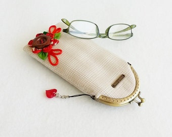 Beautiful Light Brown Glasses Case, Eyeglass Case, Spectacle Case, Metal Frame Purse