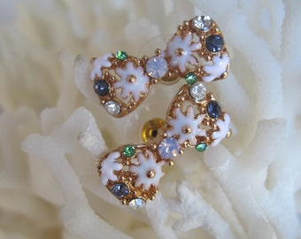Daisy Bow Tie Stud Earrings with Faceted Multi-Colored Crystals