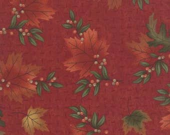 Maple Island,6611-11 Red, Leaves, Autumn/ Fall on Red Background by Holly Taylor, Northwoods, Moda Fabric, Sold In Half Yard Amounts