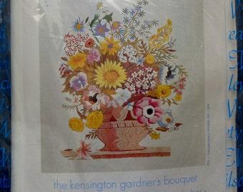 Rare Vintage Erica Wilson KENSINGTON GARDNER'S BOUQUET Robert Furber Flowers - Crewel Embroidery Stitch Kit - Creative Needlework Society
